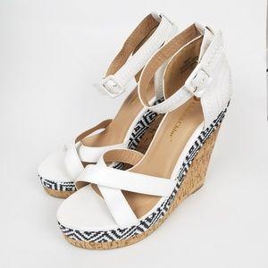 Shoes - Boutique White Cork Aztec Print Wedges Size 10